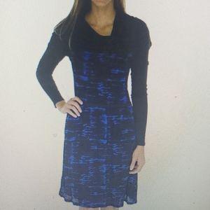 Kensie Cowl Neck Dress Blue Black New